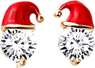SpirWoRchlan Christmas Decorations, Fashion Christmas Hat Ear Studs Cubic Zirconia Women Girls Party Jewelry Gift Xmas Stocking Fillers
