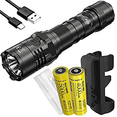 Nitecore P20i 1800 Lumen USB-C Rechargeable Strobe Ready Tactical Flashlight with 2X Batteries and LumenTac Battery Case