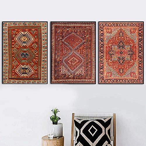 UHYGT Affiche de Motif de Tapis orientaux et Impressions Art Mural Vintage Tapis persans Antiques Peinture sur Toile Photos rétro Home Decor 40x60cmx3 No Frame