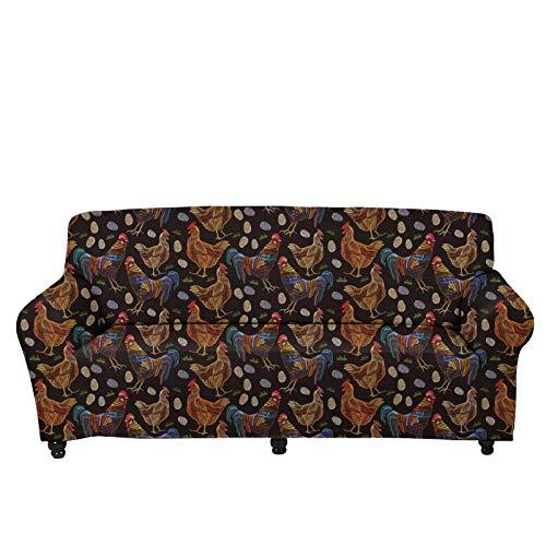 JBNJV Fundas de sofá para el hogar Modernas Fundas elásticas para sofá Funda Protectora para Muebles Gallo Estampado Floral Funda de sofá Vintage para sofá de 3 Cojines