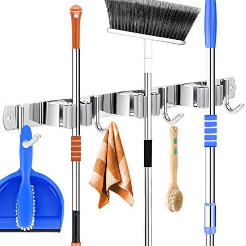 Cabilock Mop Porte-balais de jardin à outils mural avec 3 racks 4 crochets Support mural en acier inoxydable pour les articles ménagers, garage, étagères, idées