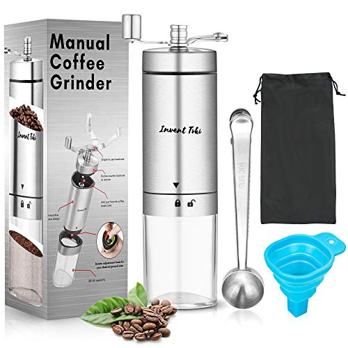 Invent Toki Manual Coffee Grinder - 80ml Portable Hand-Operated Grind Machine with Adjustable Coarseness - Set Includes Scoop, Cleaning Brush, Funnel, Storage Bag - Best for Camping, Travel, Backpacking…