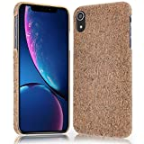NALIA Corcho Funda Compatible con iPhone XR, Aspecto de Madera Carcasa Dura Ultra-Fina Hard-Case Cover, Cubierta Protectora Delgado Telefono Movil Smart-Phone Bumper, Motiv:Grey Cork