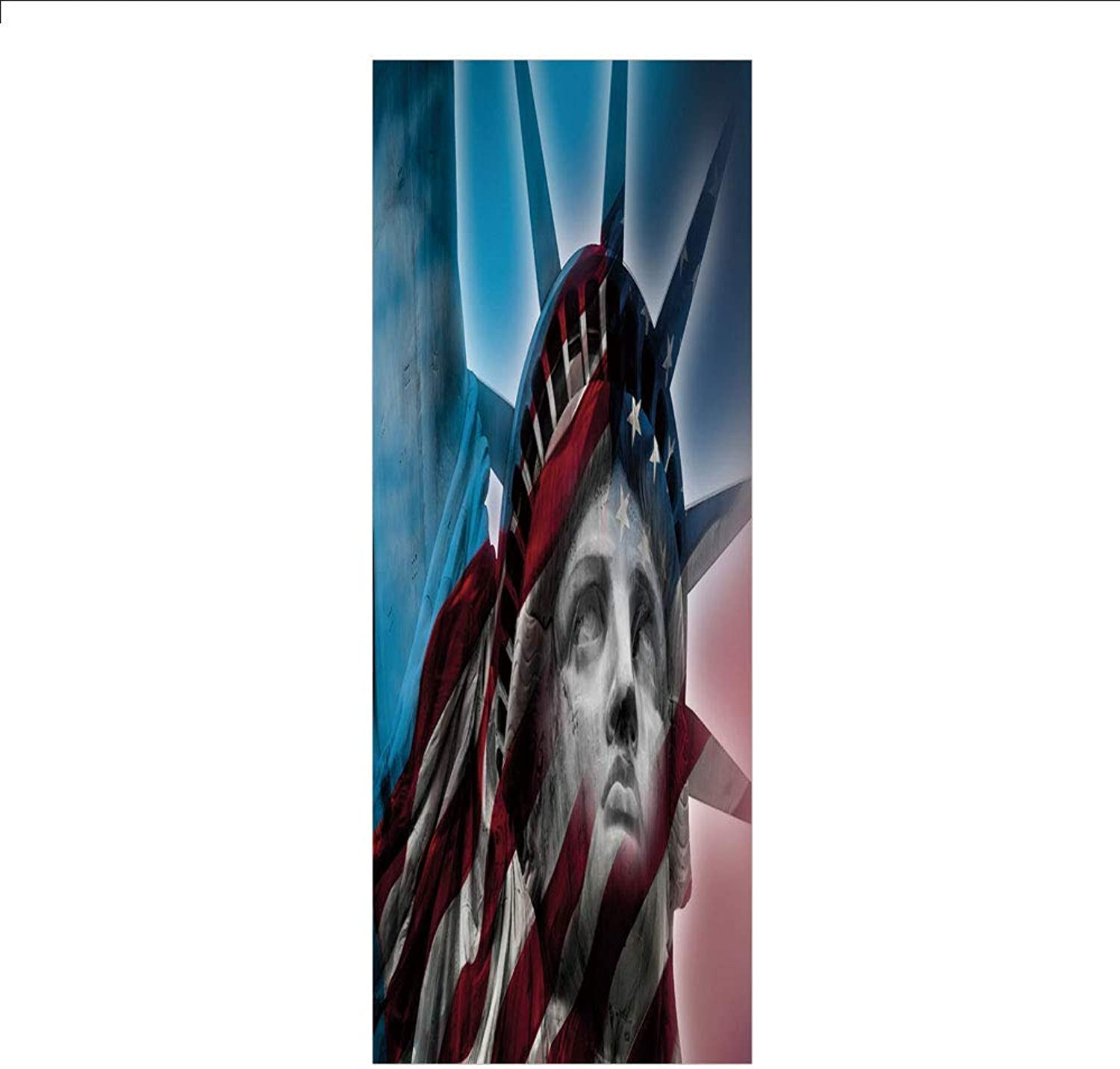 Yaoni 3D Decorative Film Privacy Window Film No Glue,United States,Statue of Liberty and American Flag Double Exposure Justice Democracy Freedom Decorative,Multicolor,for Home&Office