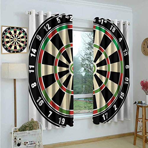 "Gardome Kitchen Curtains Sports,Dart Board Numbers Sports Accuracy Precision Target Leisure Time Graphic,Vermilion Green Black,Room Darkening Blackout Drapes for Bedroom,Nursery,Living Room 42""x45"""