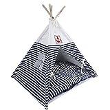 VIILER- Pet Supplies Washable Durable Navy Stripe Style Pet House Tent...