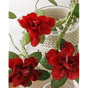 Silk Flower Arrangements Fake Flower Azaleas Artificial Tree Branches White Cuckoos Long Molding Stem Arbitrary Bending Rattan Silk Flowers for Home Decor Artificial Roses Flower (Color : Red)