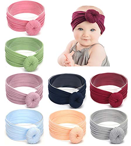 Baby Girl Nylon Headbands Newborn Infant Toddler Hairbands Knotted Children Soft Headwrap Hair Accessories (C-8pack-mul2)