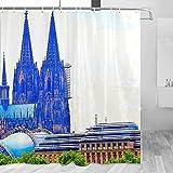 Duschvorhang, Deutschland, Kölner Kathedrale, Musik, Kuppel, Reise-Badezimmerdekor, Set mit Haken, Polyester, 183 x 183 cm (YL-02297)
