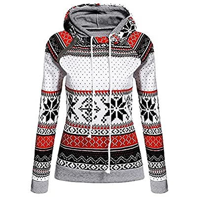 FNKDOR Women Warm Coat Christmas Jumper Print with Zipper Pullover Hooded Sweatshirt Outwear