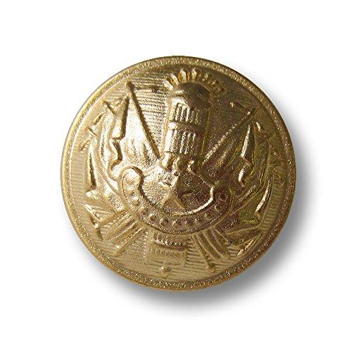 Knopfparadies - 6er Set imposante stark gewölbte matt Goldfarbene Metall Ösen Knöpfe mit Stern, Kanonenrohr, Fahnen und Banner auf schraffiertem Untergrund/matt goldfarben/Metallknöpfe/Ø ca. 28mm