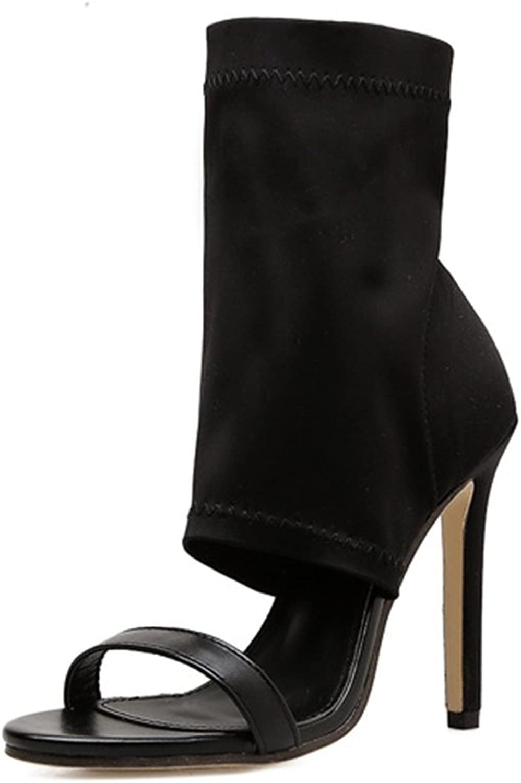 Women High-Heeled Sandals Peep Toe Heels Ladies Pumps Stilettos Ankle Strap Heel Kitten Elastic Fabric shoes Black