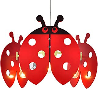 CSDM.AI Children's Ceiling Lamp, Chandelier Children Bedroom Lamp Shade Girls Nursery Decoration Cartoon Seven-Star Ladybug Decorative Lamp