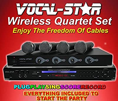 Vocal-Star Wireless Quartet Set - Multi Format Karaoke Machine with 4 UHF Wireless Microphones and 150 Songs