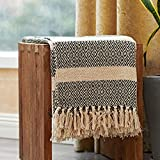 MOTINI 100% Cotton Decorative Blankets Cozy Black and Beige Striped Throw Blankets, Hand-Knitted Diamond Pattern with Tassel for Sofa, Couch, 50 x 60 inch