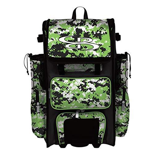 Boombah Superpack Hybrid Rolling Bat Bag Camo Bat Pack Black/Lime Green - Wheeled & Backpack Version