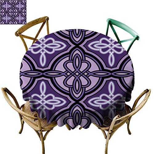 Kanxdecor Celtic Decor D 60' Round Tablecloths, Celtic Knot Figures with Swirling and Twisted Line Details Artisan Print Circle Fabric Table Cloth for Tea Table Kitchen Violet Lilac