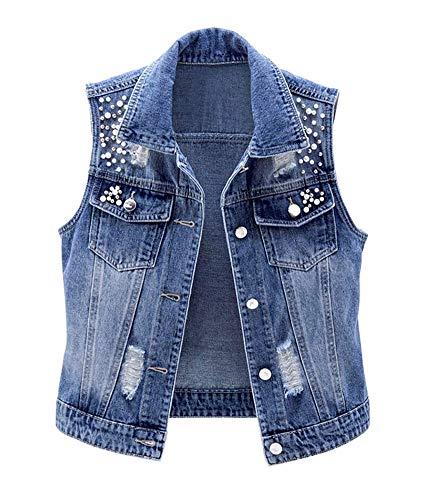 CYSTYLE Damen Jeansweste BF Perlen Jacke Ärmellos Einfache Beiläufige Jeansweste Denim Weste mit Loch Design (Blau, M)