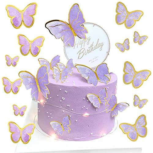 Jxuzh 21 adornos para tartas de cumpleaños con mariposas, decoración para tartas de cumpleaños para niñas, arco iris, mariposas, Happy Birthday, multicolor