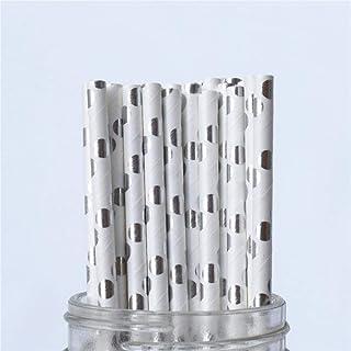 25 stks metallic goud hart ster folie streep papier rietjes goud folie streep papier rietjes zilver verijdeld streep Chevr...