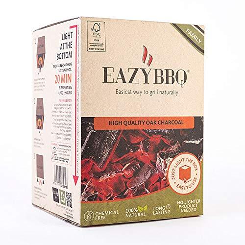 EAZYBBQ Carbón de Encina para Barbacoa con Caja Autoencendido 1.6 Kilogramos