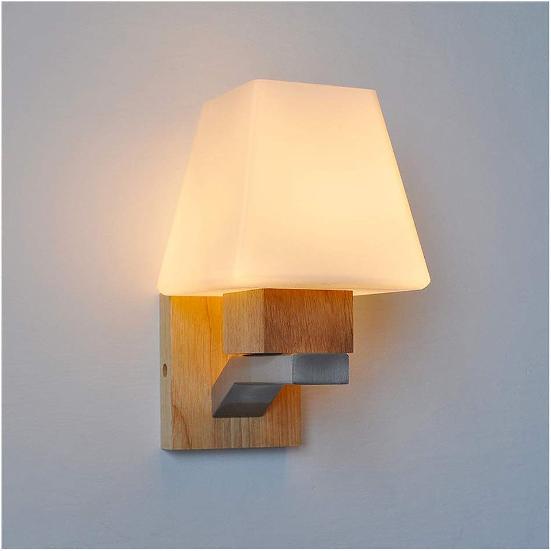 ZHJJYPBIDEN Wandleuchte Innen Glas Massivholz Wandleuchte Hauptbeleuchtung Wandleuchte Nordic Einfache Treppenlicht Schlafzimmer Nachttisch Wohnzimmer Lampe Wandleuchte