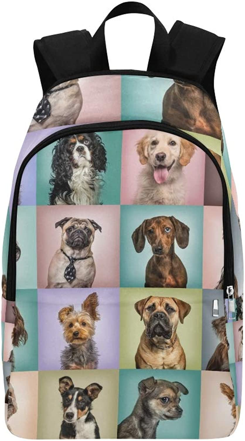 Composition Dogs Against colord S Casual Daypack Travel Bag College School Backpack for Mens and Women