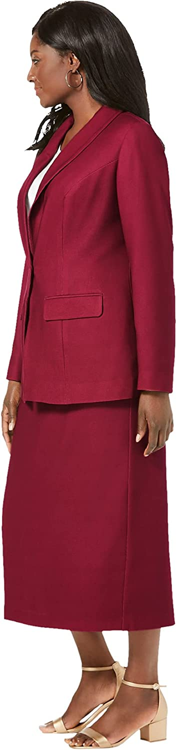 Jessica London Women's Plus Size Single-Breasted Skirt Suit Set