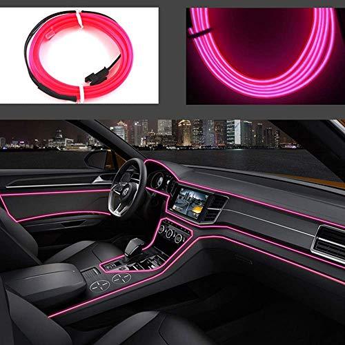 El Wires Auto-Set, 1 m, kaltes Innenverkleidung, helle Auto-Dekoration, Neon-Lichtröhre, Kreis-Dekoration mit 6 mm Nähkante (Pink, 1 m)