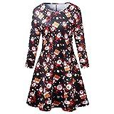 WAOTIER Una línea de falda casual copo de nieve estrellas impresión Midi vestido de otoño de manga larga suave vestido floral traje de una línea de vestido suelto Swing vestido