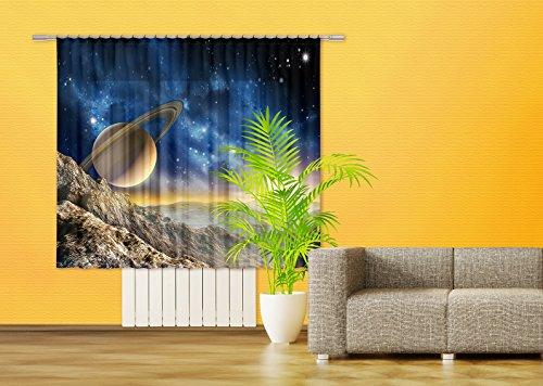 AG Design Weltraum Gardine/Vorhang, 2 Teile, Stoff, Multicolor, 180 x 160 cm