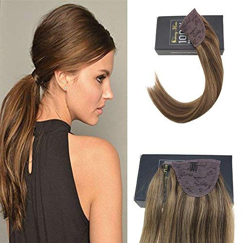 Sunny Ponytail Human Hair Highlights 16 inch Color Dark Brown Mixed Caramel Blonde Real Hair Ponytail Extensions Clip in Hairpiece Highlighted 80g