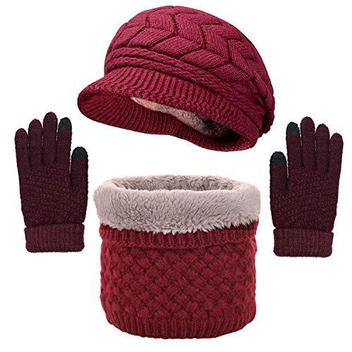 CheChury Gorras Invierno con Bufanda y Guantes Mujer Moda Calentar Sombreros Gorras...