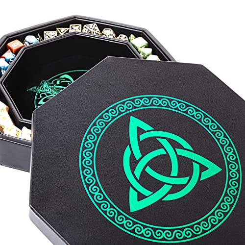 DND Dice Tray - Premium 8 Inch Dice Tray Dungeons and Dragons - Exquisitely Detailed Green World Tree & Triquetra Design - Perfect Dice Rolling Tray for RPG Games Like D&D & More to Protect Dice