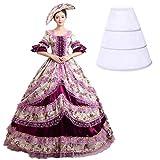Nuoqi Donna Vintage Vittoriano Vestito Medievale Raso Masquerade Abiti (Taglia Italiana 46, CC2377A-NI)