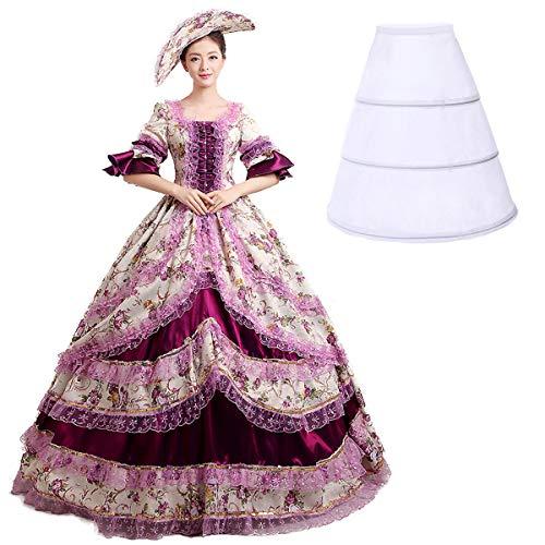 Nuoqi damen Damen Satin Gothic Victorian Prinzessin Kleid Halloween Cosplay Kostüm (34, CC2377A)