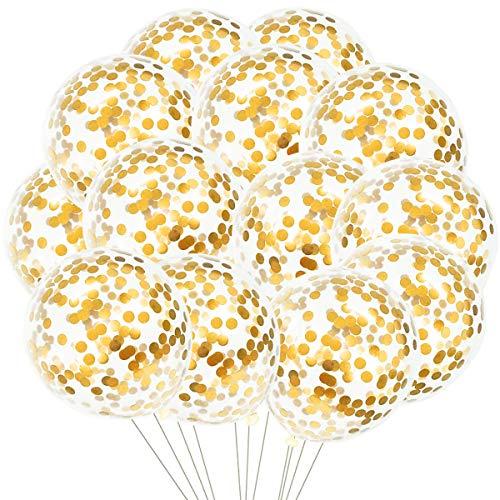 50 piezas Globos de confeti para fiesta Globos de confeti de látex para cumpleaños bodas compromisos aniversario baby shower graduación carnaval de Navidad o cualquier decoración de fiesta (Oro)