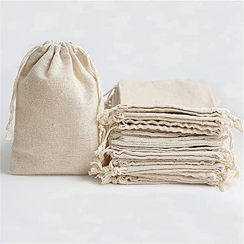 20 Piezas Bolsa de muselina de algodón con cordón bolsitas Saco de...