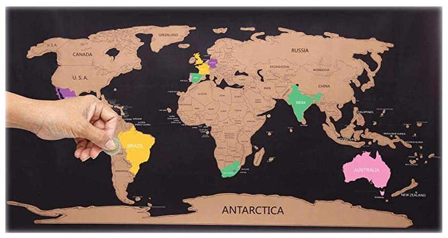 Sifcon Travellers Scratch Map Geography Poster 80 x 45 cm