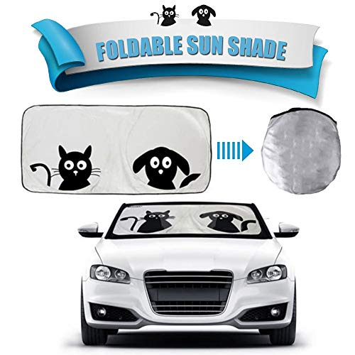 Window Shades for Car,2win2buy Folding Windshield Sun Shade Black Silver Auto One Piece, Pop-up Design Car Sunshade. Reflective Silver Nylon Car Windshield Front Windscreen