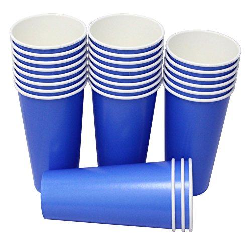 Yes!Fresh Vasos Biodegradables Desechables, Bebidas Frías y Calientes, 20 Onzas, 25 Piezas, Azul