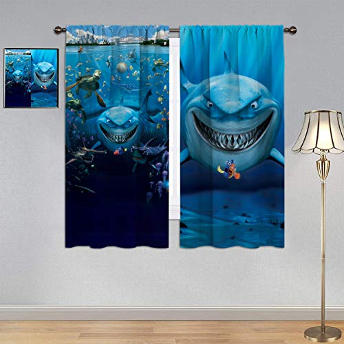 Finding Nemo Curtains,Customized Curtains Anime Video Movie Clownfish Marlin & Nemo & White Shark Bruce Window Curtain Fabric Kids/Girls Room Window Curtain Treatment Drapes, W63 x L63