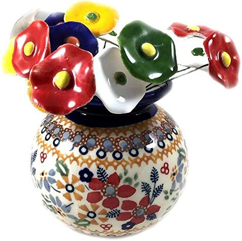 Christmas Posies Polish Pottery Small Vase OFFicial Limited time for free shipping store Pointsetti Round DPLC