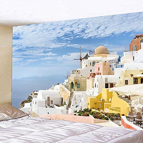 Tapiz de mar azul tapiz de belleza paisaje mar Egeo colgante de pared arte tapiz dormitorio decoración tela de fondo A5 150x200cm