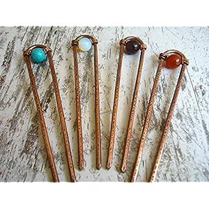 1 Haarforke Minimale, aus Kupfer Metall, Antike, mit Edelstein, Haargabel, Handgefertigt, Haarschmuck, Haar Accessoires!