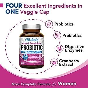Surebounty 4-in-1 Feminine Probiotic, 120 Billion CFU + 34 Strains, Highest Potency for Women, Prebiotics + Digestive Enzymes + Cranberry, Digestive, Vaginal, Mood, Immune & Overall Support, 30 caps