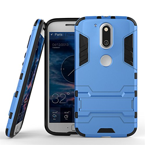Guran Case For Lenovo Moto G4 Plus (5.5 inch) [Tough Armor] Rugged Duty High Impact Shockproof Resistant Protective Case Band Stent Protective Slim Hard Case (Blue)
