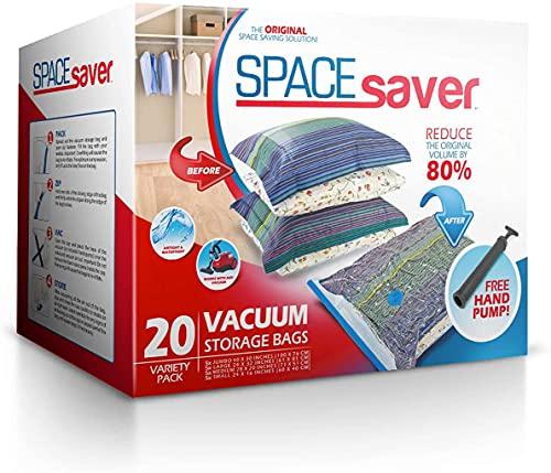 Spacesaver Premium Vacuum Storage Bags (5 x Small, 5 x Medium, 5 x Large, 5 x Jumbo) (80% More Storage Than Leading Brands) Free Hand Pump for Travel!...