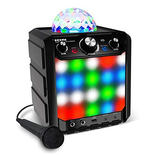 Ion Party Rocker Express - Karaoke Anlage Musikbox Bluetooth Lautsprecher mit Discokugel, LED Lichter, Mikrofon, Echo-Effekt, USB
