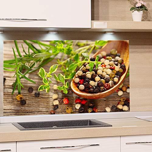GRAZDesign Spritzschutz Glas für Küche Herd, Bild-Motiv Kräuter Gewürze im Löffel mediterran, Küchenrückwand Küchenspiegel Glasrückwand / 100x50cm